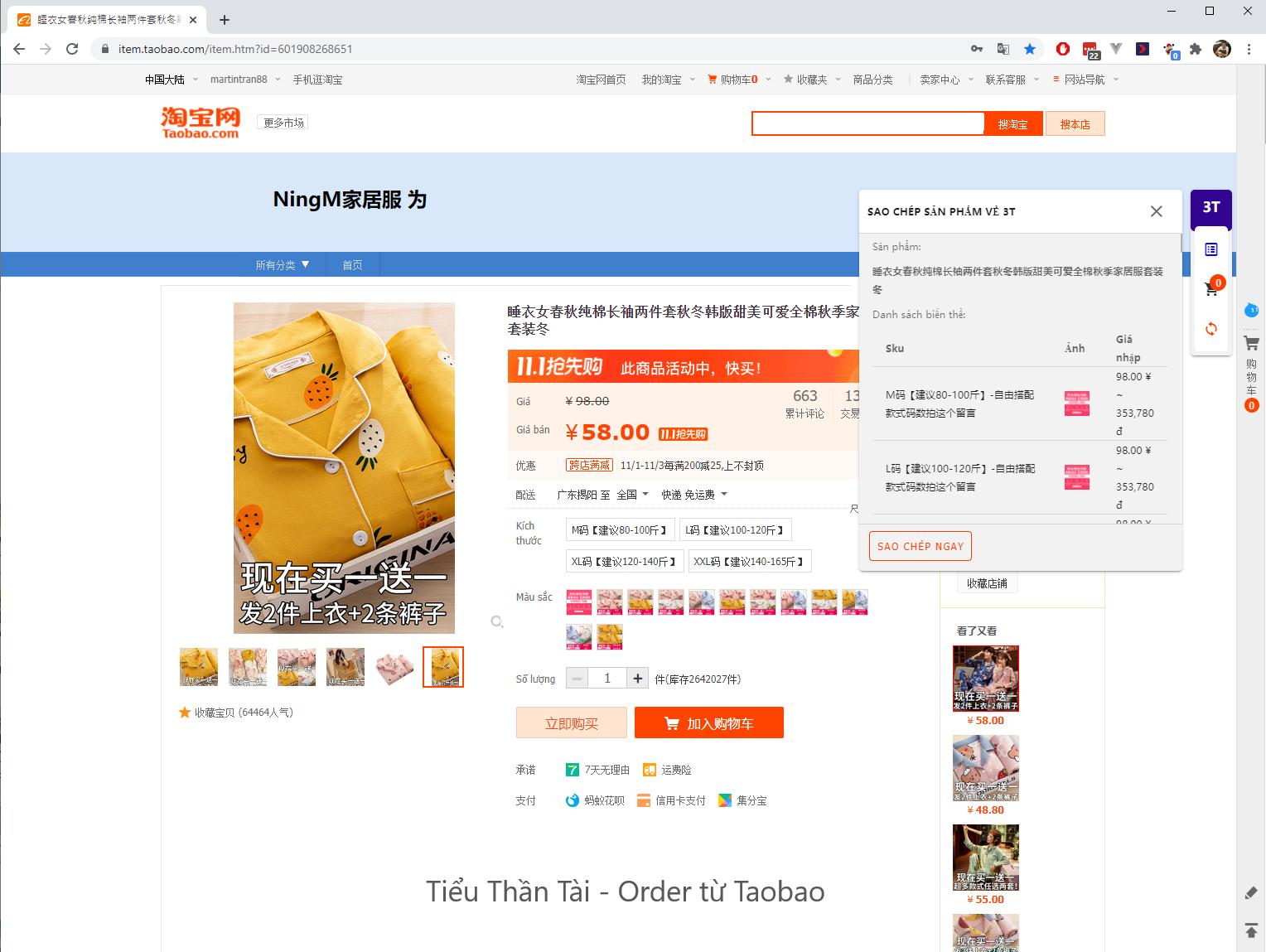 copy thông tin sản phẩm taobao
